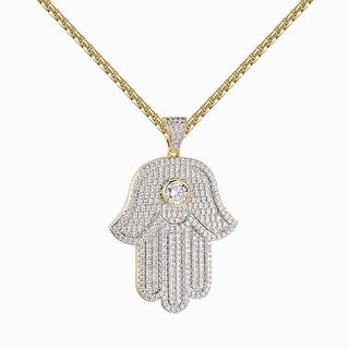 Solitaire Hamsa Hand Pendant 14k Gold Tone Chain Lab Diamonds Iced Out