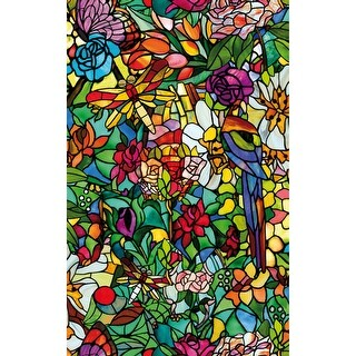 Brewster T346-0647 Spring Chapel Twin Pack Peel and Stick Floral Vinyl Window Fi - Multi-color - N/A