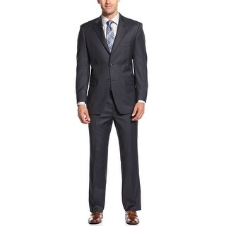 Jones New York Vince Navy Blue Sharkskin Suit 38 Regular 38R Pants 29.5W