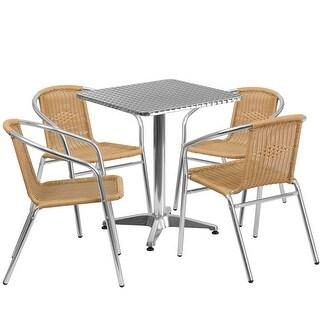 Skovde 5pcs Square 23.5'' Aluminum Table w/4 Beige Rattan Chairs