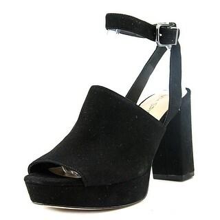 Via Spiga Julee Women Open Toe Suede Black Sandals