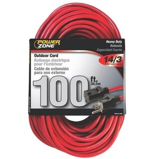 Power Zone OR514735/506735 Outdoor Extension Cord, Red, 100'