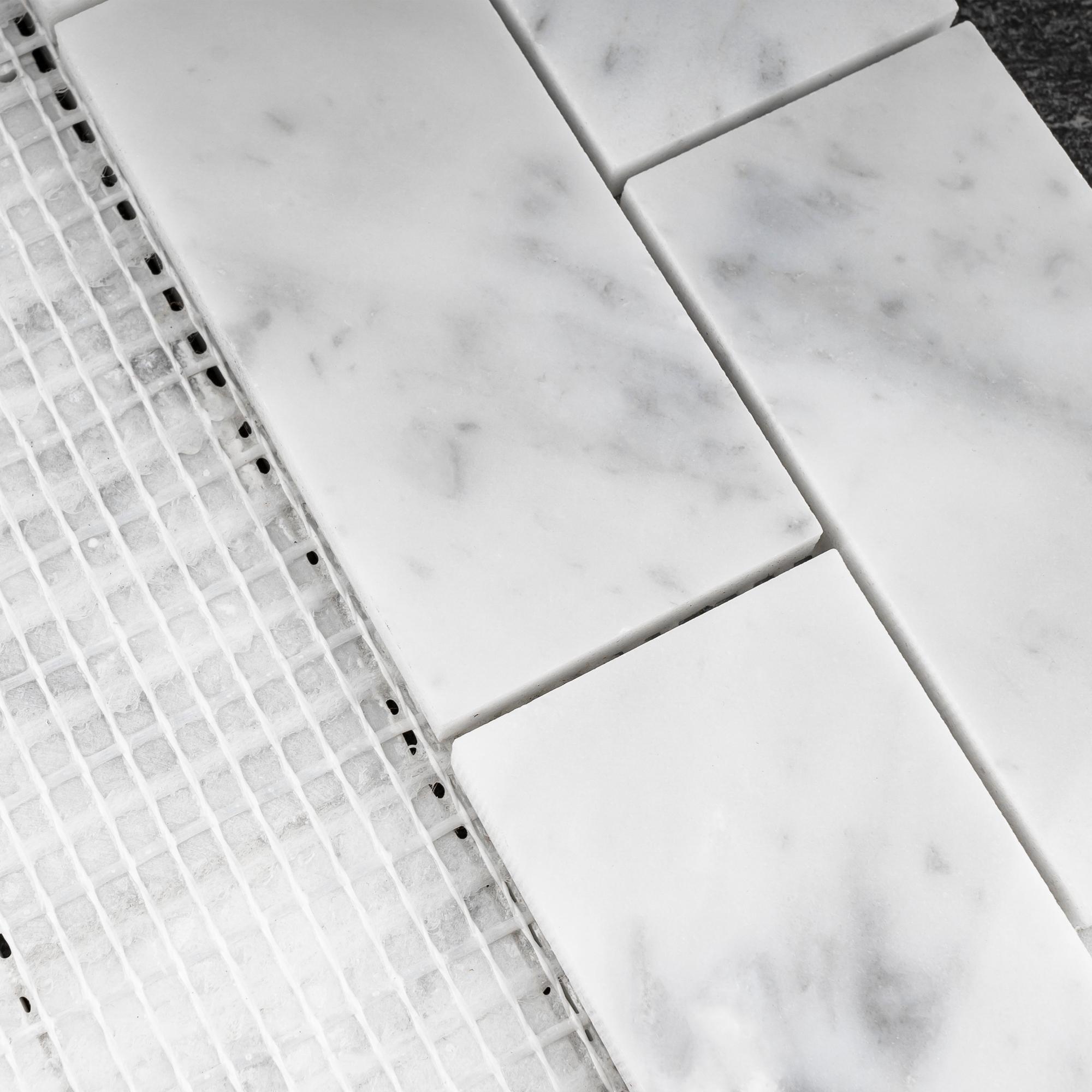 Tilegen Rectangle 2 X4 White Carrara Marble Subway Tile In White Floor And Wall Tile 10 Sheets 9 6sqft Overstock 27973540