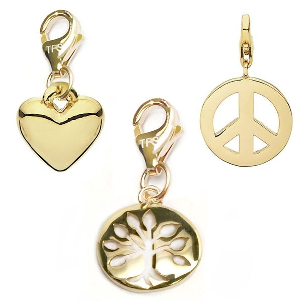 Julieta Jewelry Tree Of Life, Heart, Peace Sign 14k Gold Over Sterling Silver Clip-On Charm Set