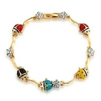 Bling Jewelry Crystal Flower Gold Plated Multicolor Ladybug Bracelet 7.5in