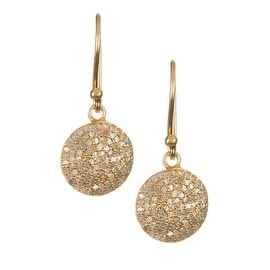 Genuine Pave Diamond Disc Earrings in Sterling Silver with Gold Rhodium