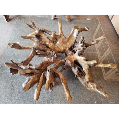 Teak Wood Root Coffee Table Including 55 inch Square Glass Top
