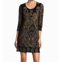 Papillon NEW Green Women's Size XS Damask-Print Knit Sweater Dress