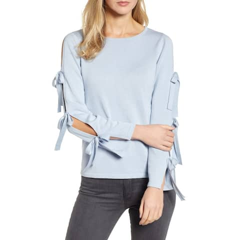 CeCe Womens Sweater Blue Size XS Scoop Neck Knit Split Bow Sleeve