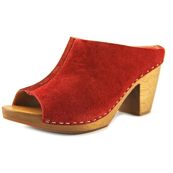 Kelsi Dagger Bergenos Women Open-Toe Leather Red Mules