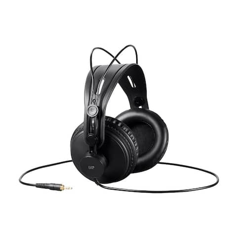 Monoprice Well Balanced Modern Retro Over Ear Headphones - Black W/ 50mm Drivers