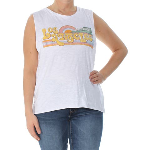 LUCKY BRAND Womens White Printed Sleeveless Crew Neck T-Shirt Top Size: L