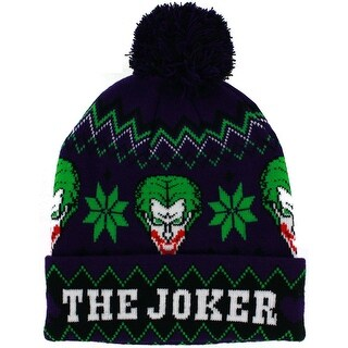 The Joker Intarsia Cuffed Knit Hat with Pom