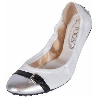 Tod's Women's White Leather Dee Buckle Ballerina Ballet Shoes 41.5 11.5