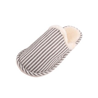 Family Coral Fleece Stripe Pattern Warm Winter Slippers Coffee Color Pair US 13