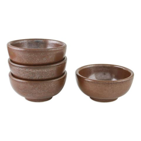 "Handmade Earthen Style Ceramic Condiment Bowls (Set Of 4) Thailand - 1.4"" H x 3"" Diam."