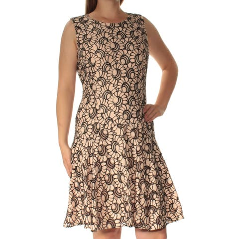 35808b16278 TOMMY HILFIGER Womens Pink Printed Sleeveless Jewel Neck Above The Knee Fit  + Flare Dress Size