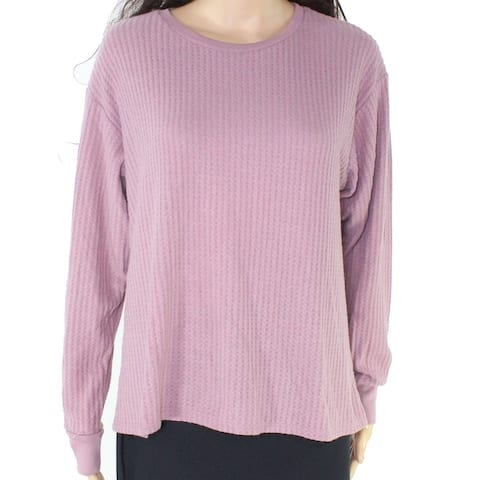Project Social T Women's Pink Size Large L Crewneck Waffle Knit Sweater
