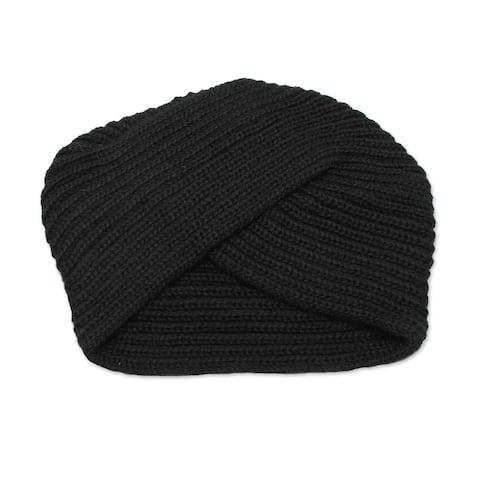 NOVICA EbonyTurbanWool blend hat