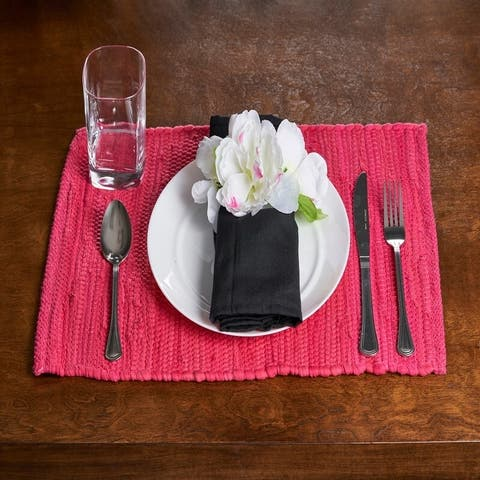 """LR Home Hand Loomed Solid Set of Four Placemats - 1'1"""" x 1'7"""""""
