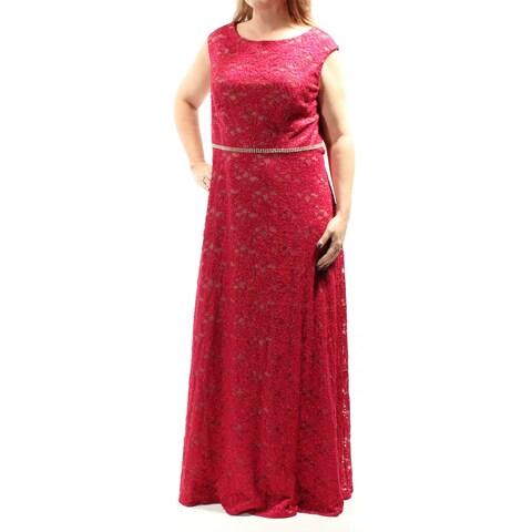 Womens Red Cap Sleeve FullLength Sheath Formal Dress Size: 16W
