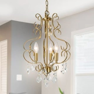 "Link to Mid-Century Chandelier Pendant Gold 3-lights Lighting with Crystal - W13""xH17.7"" Similar Items in Chandeliers"