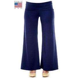 Plus Size Women's Navy Palazzo Pants Lose Fit Wide Leg Folding Waist Sexy Comfy
