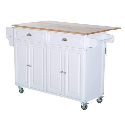 HomCom White Wooden Drop-leaf Rolling Storage Kitchen Island - 29.5*57.5*36