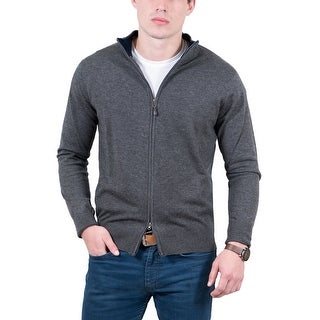 Real Cashmere Grey Fine Knit Full Zip Cardigan