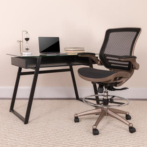 Mid-Back Transparent Mesh Drafting Chair with Flip-Up Arms - Tall Office Chair