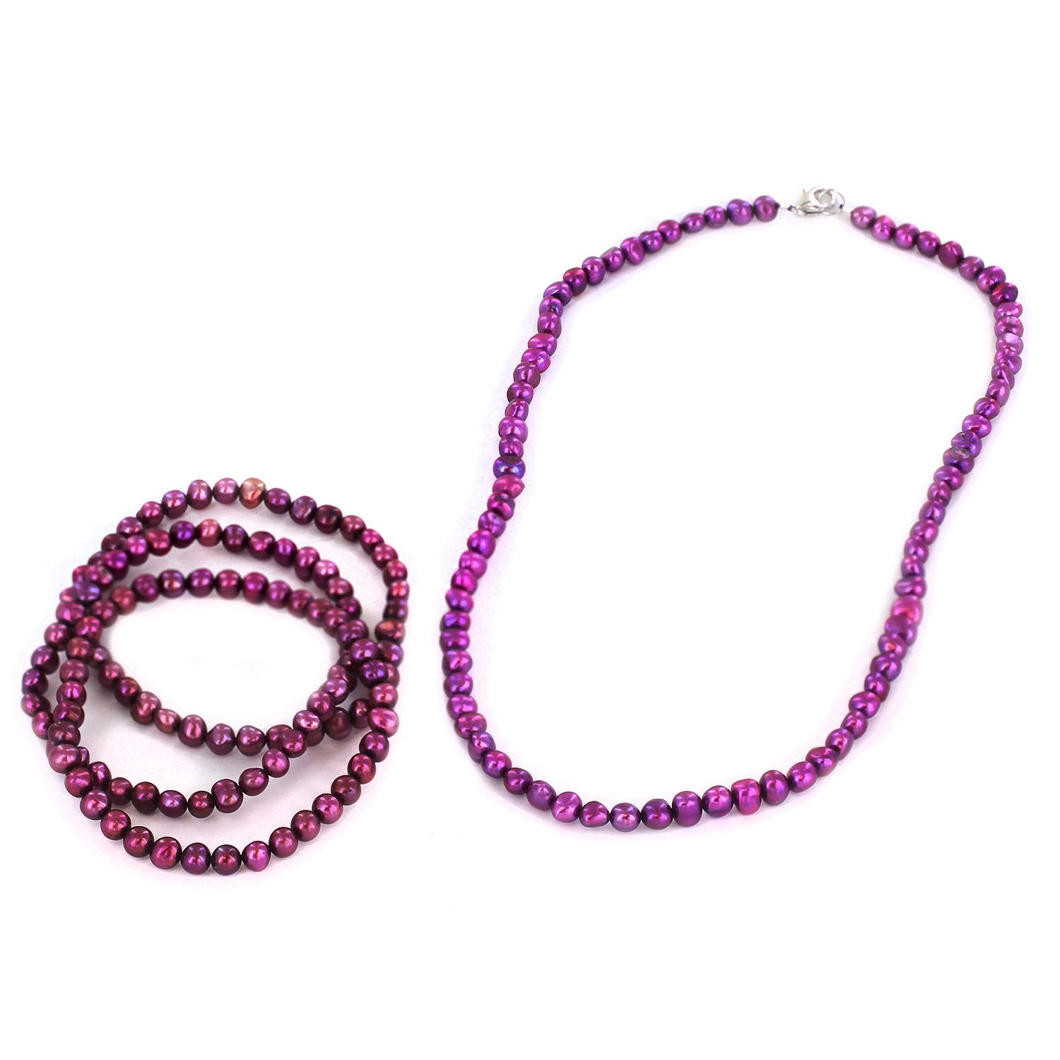 Simulated Pearl Beaded Necklace and 3 Piece Stretch Bracelet Set - Thumbnail 3