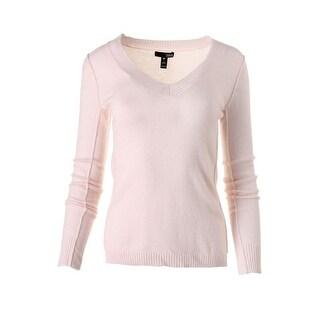 Aqua Womens Cashmere V-Neck Pullover Sweater - L