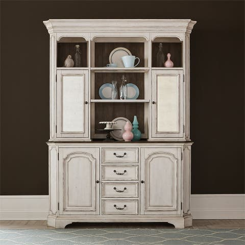 Abbey Road Porcelain White Hutch and Buffet Set