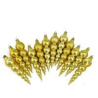 """12ct Vegas Gold Shatterproof Matte and Shiny Christmas Finial Ornaments 6"""""""
