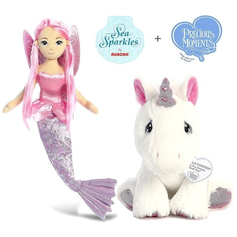 "Aurora Sea Sparkles Coralina 18"" Mermaid and Precious Moments Sparkle Unicorn 8.5"" Plush"