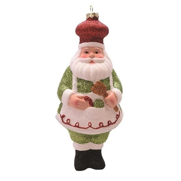 """6"""" Merry & Bright Green, White and Red Glittered Shatterproof Santa Chef Christmas Ornament - green"""
