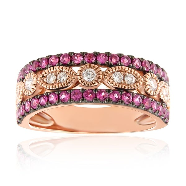 0.99Ct September Birthstone Pink Sapphire & Natural Diamond Designer Wedding Band - White G-H/Pink Sapphire