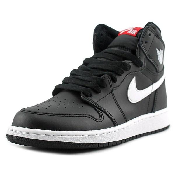 Jordan Air Jordan 1 Retro High Youth  Round Toe Canvas Black Basketball Shoe