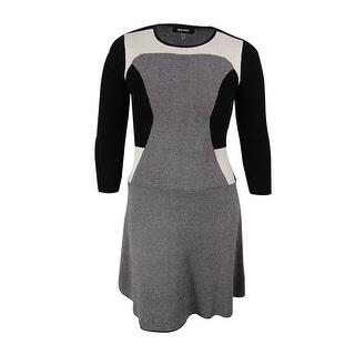 Nine West Women's Colorblocked A-Line Sweater Dress - m