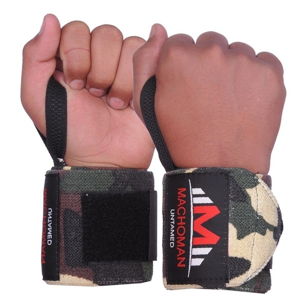 Weight Lifting Wrist Wraps Support Gym Training Bandage Straps Camo Green B-3