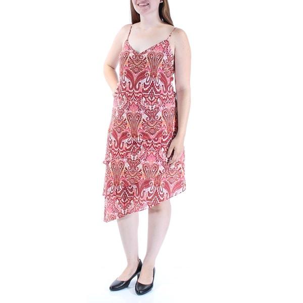 SANCTUARY Womens Red Paisley Spaghetti Strap V Neck Below The Knee Sheath Dress Size: L
