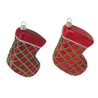 "Stocking Ornament (x2 Asst) 5""L Glass"