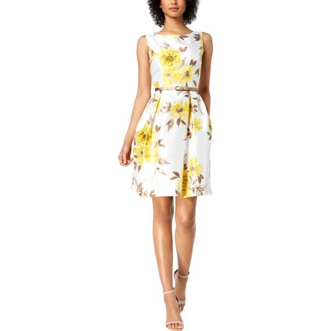 Jessica Howard Womens Petites Dress With Cardigan Belted Floral