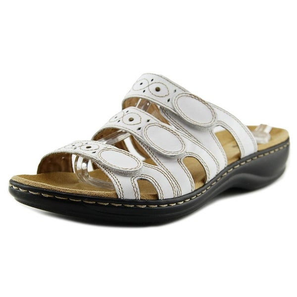 Clarks Narrative Leisa Cacti Q Women Open Toe Leather White Slides Sandal