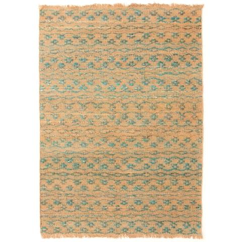 ECARPETGALLERY Flat-weave Palas Denizli Turquoise Jute Kilim - 5'3 x 7'7