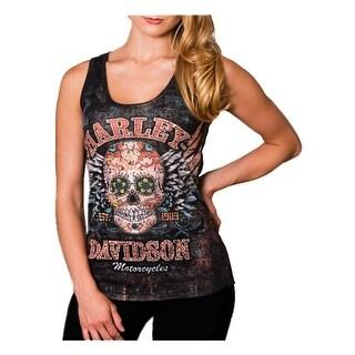 Harley-Davidson Women's Road Candy Embellished Premium Sleeveless Tank, Black