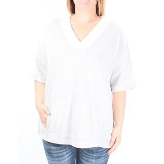 $70 TOMMY HILFIGER New Womens 1175 Gray, White Pinstripe Sweater L B+B