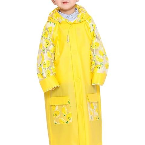 QZUnique Kids' Fruit Hooded Raincoat with School Bag Cover Poncho
