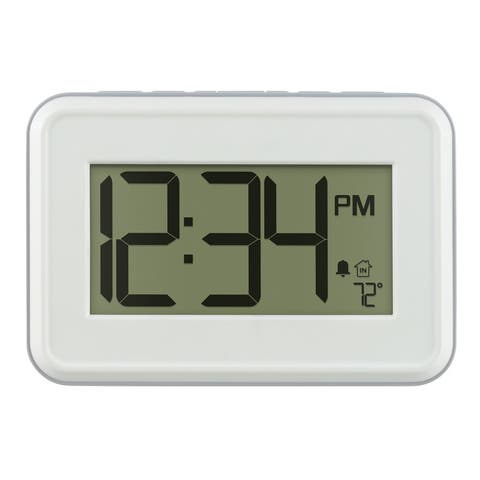 La Crosse Technology 513-113W-INT White Digital Clock with Temperature & Timer