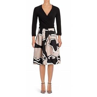 Diane von Furstenberg NEW Black Womens Size 8 Colorblocked Wrap Dress